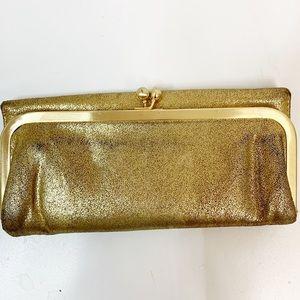 Hobo Gold Rachel Trifold Framed Leather Wallet.